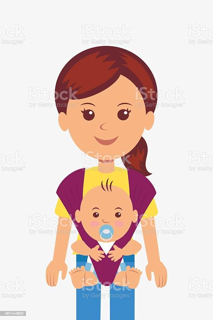 Young mother with her baby in a sling vector art illustration