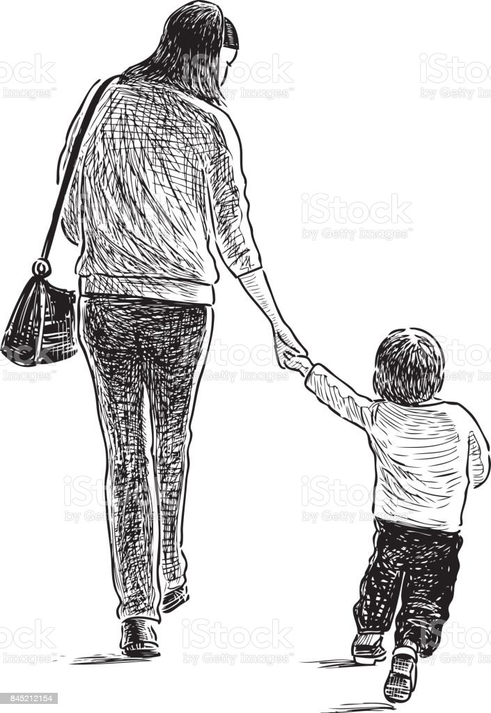 a young mother with her kid are on a walk stock vector art