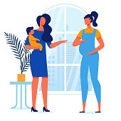Young Mothers Conversation Vector Illustration. Pregnant Lady and Woman Holding Toddler Cartoon Characters. Girlfriends Talk, Female friendship. Maternity Leave, Feminine Happiness, Motherhood