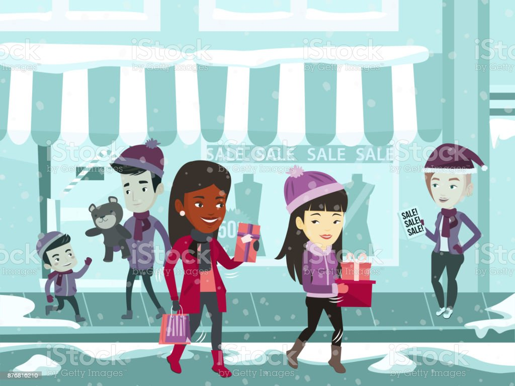 Young multiracial people during Christmas shopping vector art illustration
