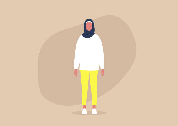 Young muslim female character wearing a hijab and casual clothes Young muslim female character wearing a hijab and casual clothes headscarf stock illustrations