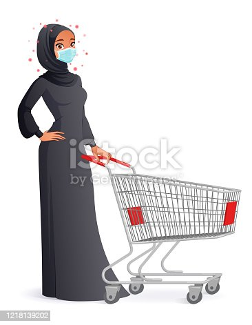Young Muslim woman in hijab wearing protective mask while shopping. Vector illustration isolated on white background.