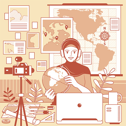 Young Muslim woman teacher with hijab and headphones is remotely teaching geography (online class) using laptop and camera and whiteboard and globe at home (classroom or office), e-learning (online tutoring) and telecommuting concept
