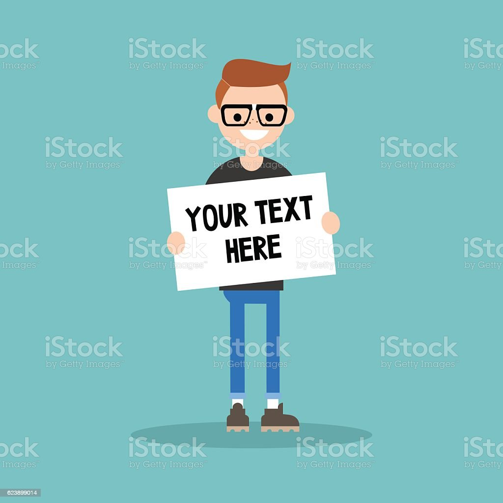 Young nerd holding a sheet of paper vector art illustration