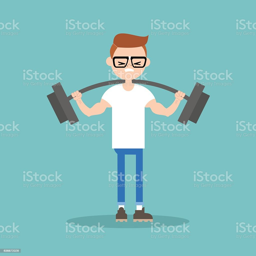 Young nerd lifting a heavy weight barbell vector art illustration