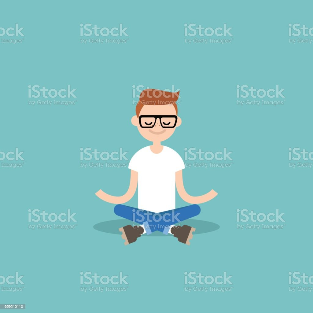 Young nerd meditating with closed eyes in lotus pose. Yoga and meditation / flat editable vector illustration, clip art vector art illustration
