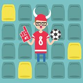 Young nerd wearing horned hat and foam finger at the stadium / flat editable vector illustration, clip art
