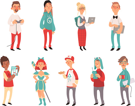 Young nerds. Smart teen geeks boys and girls teenagers technology lovers vector characters
