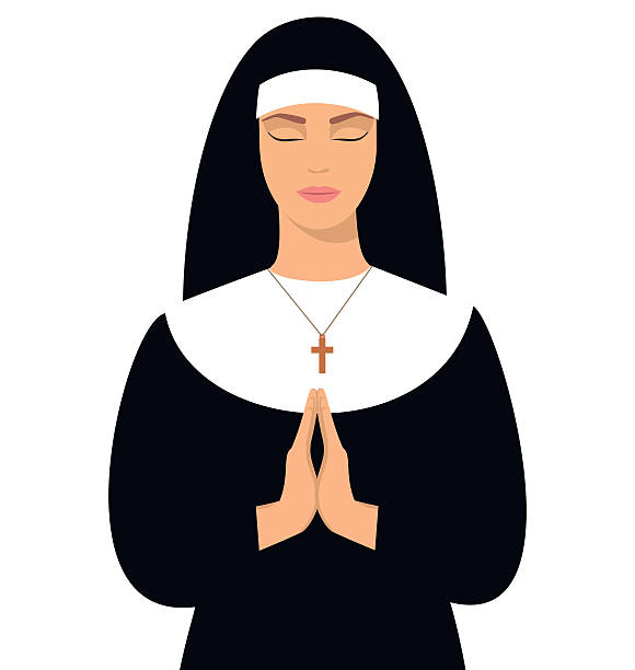 ilustraciones, imágenes clip art, dibujos animados e iconos de stock de jóvenes monja en posición de rezar. - hermana