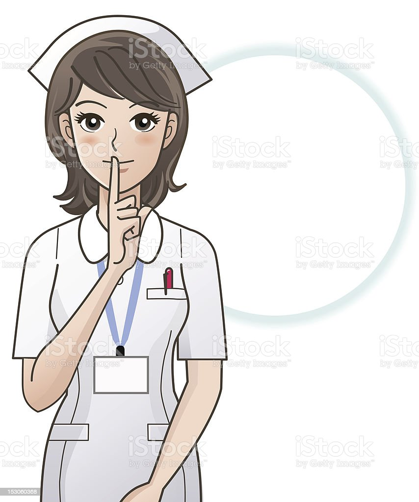 Young nurse asking silence vector art illustration