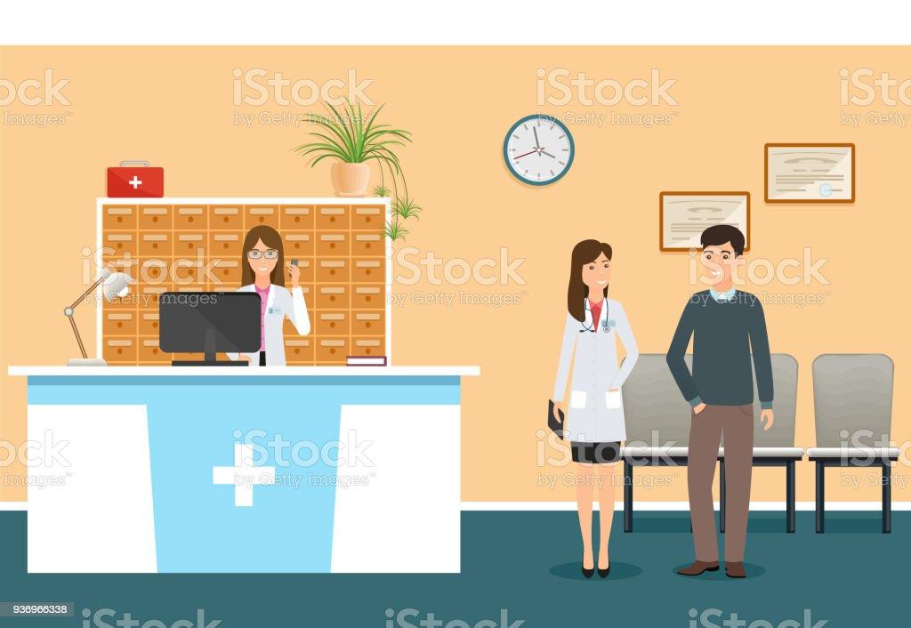 Jóvenes enfermera en hospital de recepción en clínica y la mujer médico en pie uniforme con el paciente. Escena de hospital - ilustración de arte vectorial