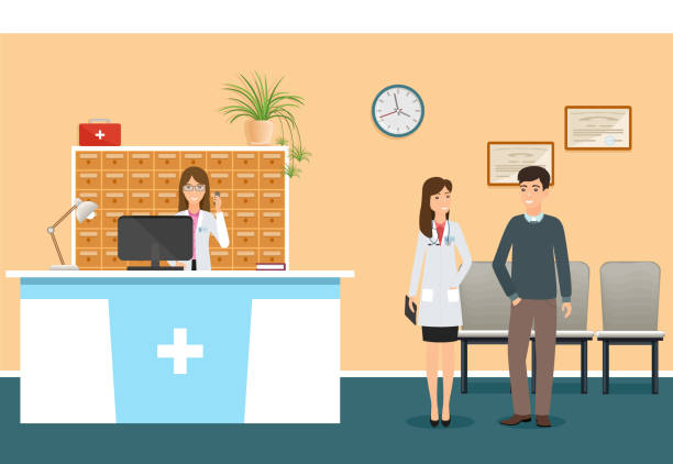 young nurse at hospital reception desk in clinic and woman doctor in uniform standing with patient. scene from hospital - receptionist stock illustrations, clip art, cartoons, & icons