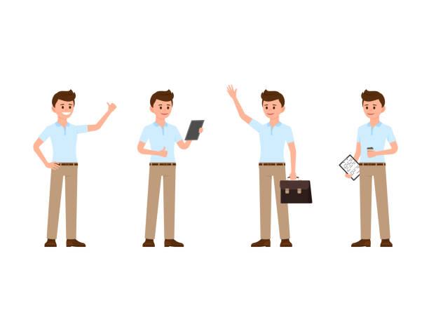ilustrações de stock, clip art, desenhos animados e ícones de young office man thumbs up, reading, waving, standing with coffee cartoon character. vector illustration of happy business man - homem casual standing sorrir