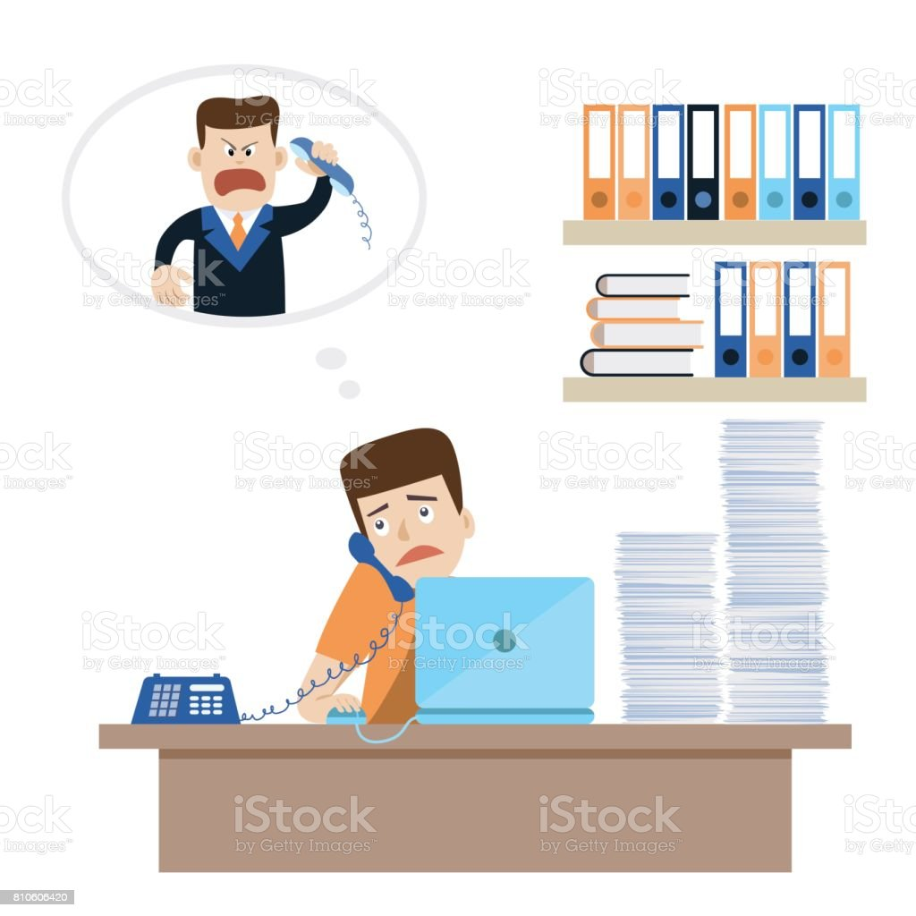 Young office worker has a phone reprimand from angry boss or customer vector art illustration
