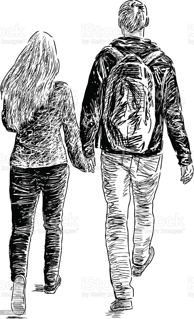 young pair walking vector art illustration