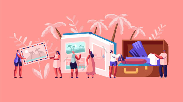 illustrazioni stock, clip art, cartoni animati e icone di tendenza di young people after vacation concept, tiny characters men and women watching photo album, take out clothes and souvenirs from suitcase. memory, photography, trip. cartoon flat vector illustration - souvenir
