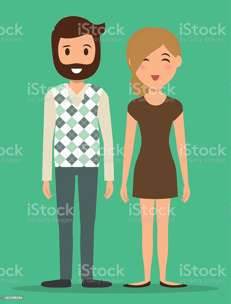 Young people cartoons vector art illustration