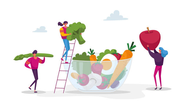 Young People Characters Put Huge Vegetables, Berries and Fruits into Glass Bowl. Healthy Vegan Food Choice, Vitamins in Products, Organic Greenery, Fruits and Vegetables. Cartoon Vector Illustration Young People Characters Put Huge Vegetables, Berries and Fruits into Glass Bowl. Healthy Vegan Food Choice, Vitamins in Products, Organic Greenery, Fruits and Vegetables. Cartoon Vector Illustration crucifers stock illustrations