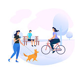 Young People Characters Relaxing on City Park Background. Woman Walking with Dog, Man Working on Laptop Sitting on Bench. Girl Riding Bicycle. Summer Time Activity. Cartoon Flat Vector Illustration.