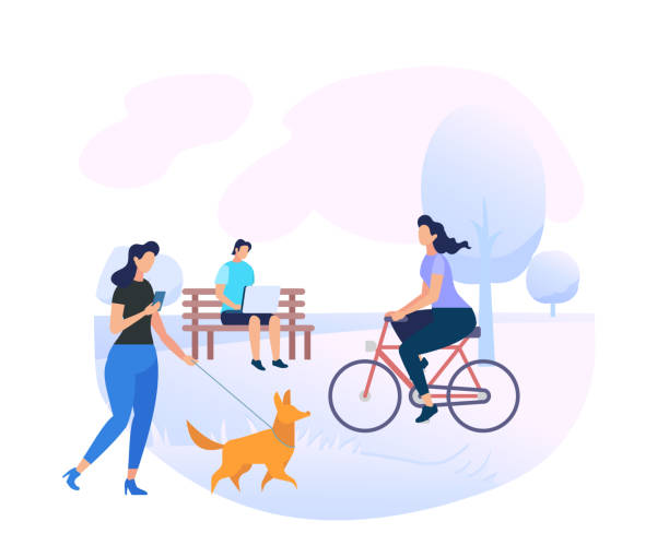 young people characters relaxing at city park area - lifestyle stock illustrations