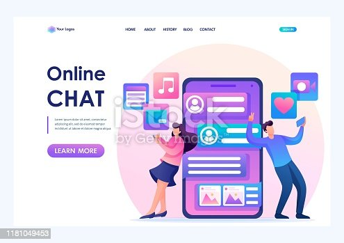 Young people correspond in a social network, online chat. Send photos and videos to each other. Flat 2D character. Landing page concepts and web design.