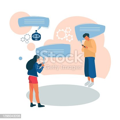 Young people correspond in the chat. The use of a chatbot in a mobile application. Vector illustration