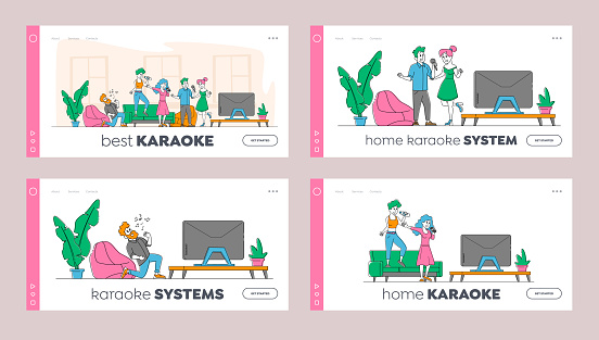 Young People Dancing and Singing Karaoke at Home Landing Page Template Set. Friends Company Characters Sing Song