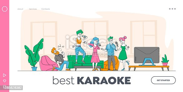 Young People Dancing and Singing Karaoke at Home Landing Page Template. Friends Company Characters Sing with Microphones front of Tv Set Screen. Holidays Recreation Time. Linear Vector Illustration