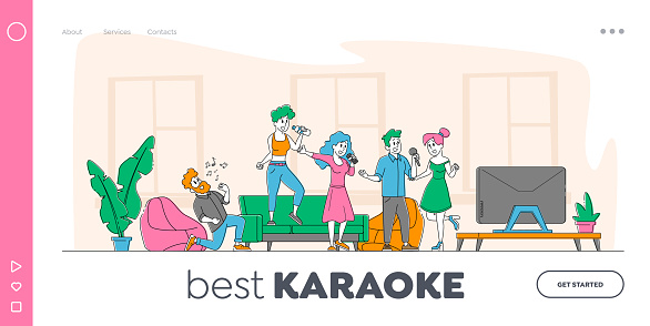 Young People Dancing and Singing Karaoke at Home Landing Page Template. Friends Company Characters Sing with Microphones