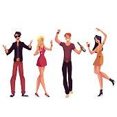 Young people dancing at a party, drinking cocktails, having fun, cartoon vector illustration isolated on white background. Men and women dancing at a nightclub, having party, drinking cocktails