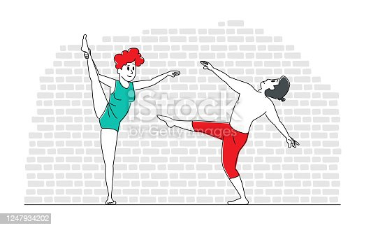 Young People Dancing. Couple Man and Woman Characters in Sports Clothing Perform Acrobatics or Ballet Moving Elements Move Body to Music Rhythm. Hobby, Leisure or Sparetime. Linear Vector Illustration