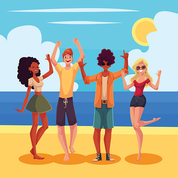 Young people dancing on the beach at a seaside party vector art illustration