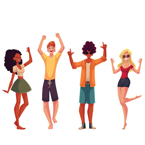 Young people dancing on the beach vector art illustration