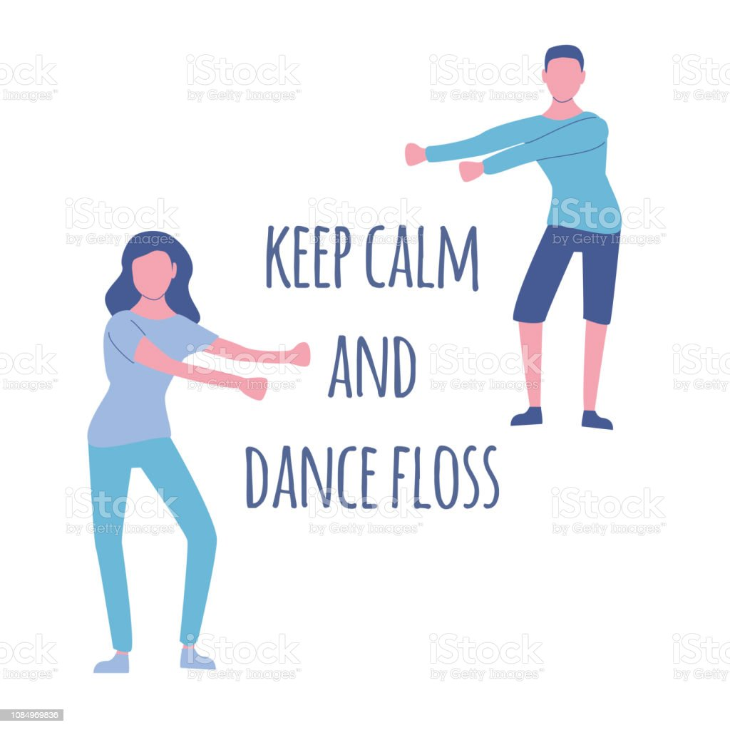 young people dancing popular floss dance flat style vector art illustration