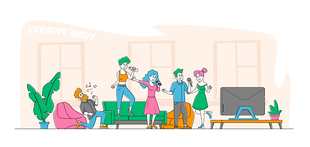 Young People Dancing, Singing Karaoke at Home Concept. Male and Female Friends Company Characters Sing with Microphones