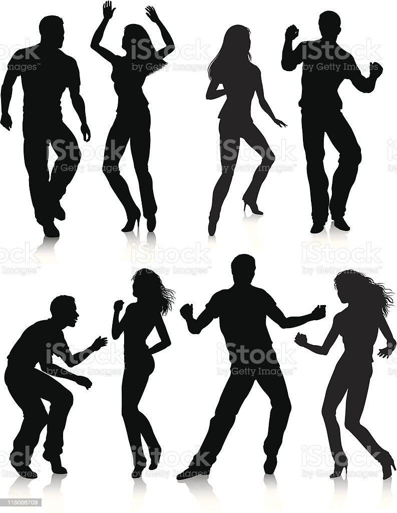 Young people dancing royalty-free stock vector art