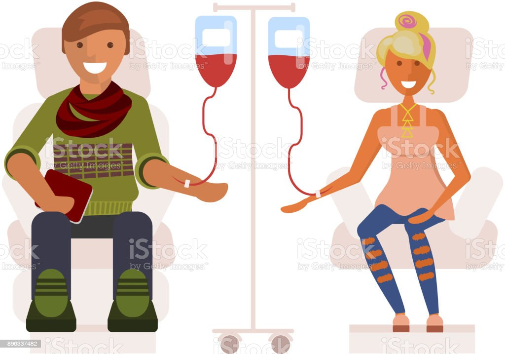 Young people donates blood vector art illustration