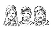 Young People Faces Diversity Set Drawing