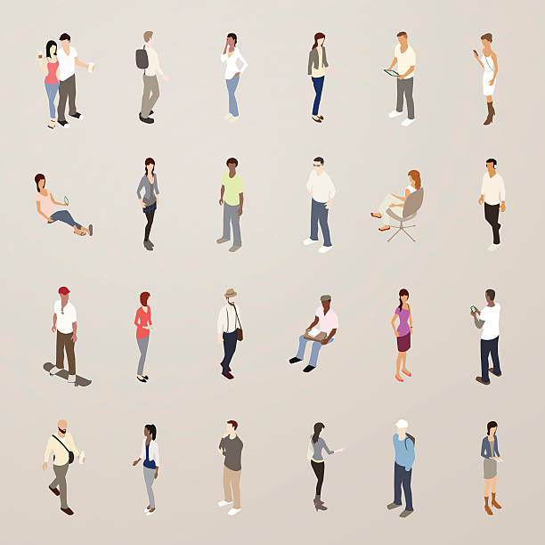 Young People - Flat Icons Illustration vector art illustration
