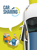 Young people found and received the free car by means of a mobile application for a car sharing. People and the car on a green background.