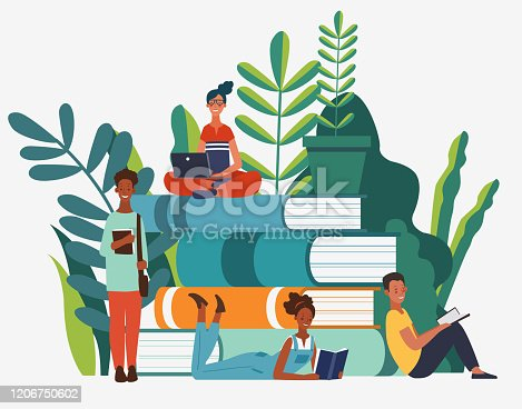 istock Young people group reading books. Study, learning knowledge and education vector concept 1206750602