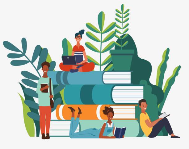 bildbanksillustrationer, clip art samt tecknat material och ikoner med ungdomar grupp läser böcker. lärandekunskap och utbildningsvektorkoncept - reading a book