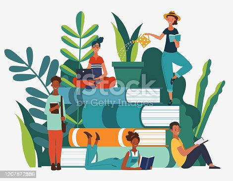 istock Young people group reading books. Study, learning knowledge and education vector concept 1207872886
