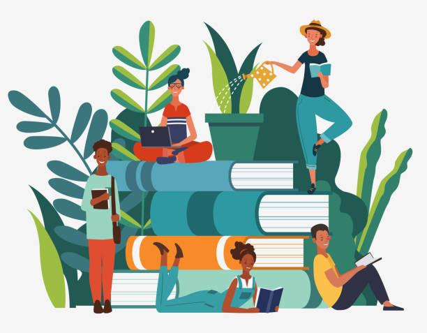 stockillustraties, clipart, cartoons en iconen met de groep die van de jonge mensen boeken leest. studie, leerkennis en onderwijsvectorconcept - lezen