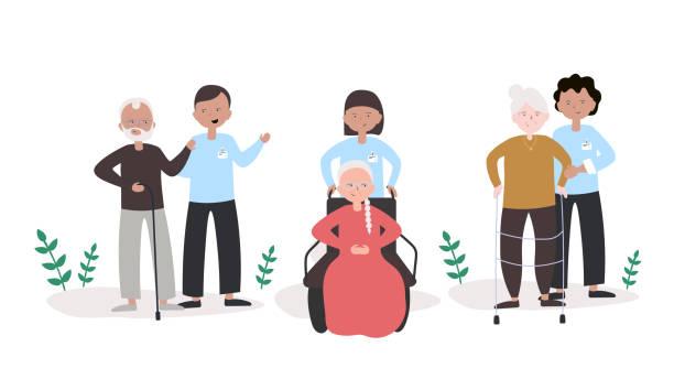 bildbanksillustrationer, clip art samt tecknat material och ikoner med ungdomar hjälp till äldre människor concept vector illustration. platt modern design för webbsida, banner, presentation etc. - elderly care