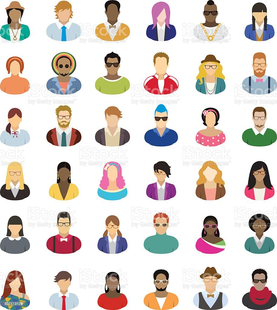 Young people – icon set vector art illustration