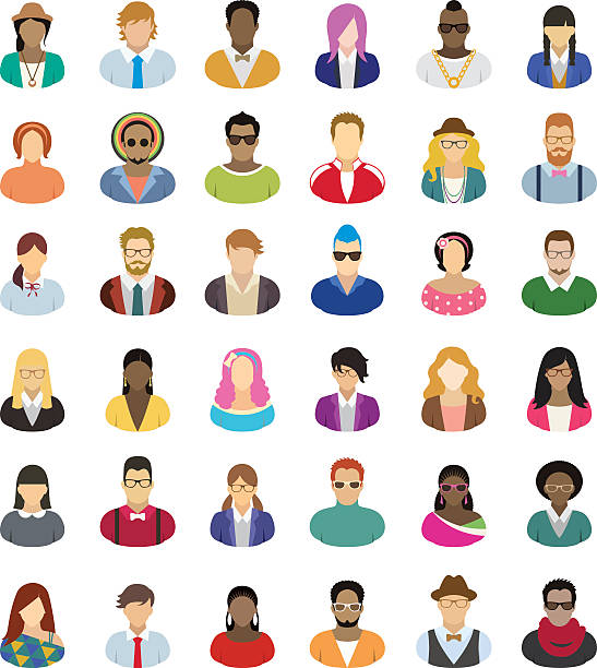 Young people – icon set Set of thirty-six people icons. suave stock illustrations