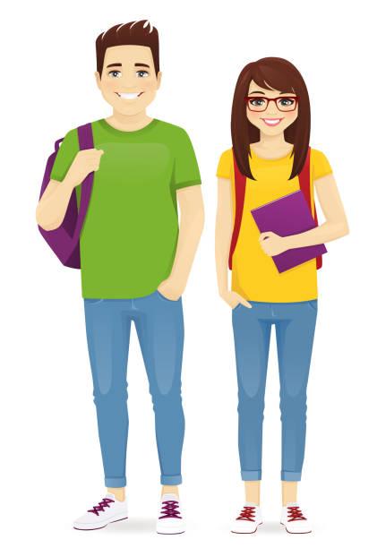 illustrazioni stock, clip art, cartoni animati e icone di tendenza di young people in casual clothes - compagni scuola