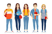 Young people in casual clothes with backbackpacks and books. Beautiful smiling students standing isolated vector illustration