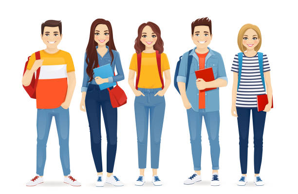 illustrazioni stock, clip art, cartoni animati e icone di tendenza di young people in casual clothes - ragazze adolescenti